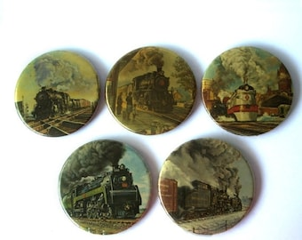 ON SALE Vintage Train Locomotive Buttons Lot of 5