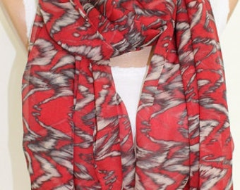 Christmas Gift Holiday Gift Scarf, Red and Grey Scarf Chiffon Scarf Spring Scarf Autumn Scarf Lightweight