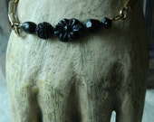 SALE 15% coupon code MARCH15 Stackable Stretch Bracelet Assemblage Vintage Upcycle Black Glass Beads