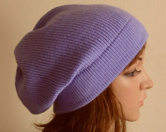Knit beanie, knitted slouchy hat, handmade slouchy beanie, lavender women's hat, knit slouch hat, fall hat, knitted from acrylic