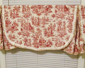 Toile Window Topper, Red on Beige, Lined, Hand Made, Bedroom, Bathroom, Fits 36' Window