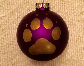 Huskies Paw Print Ornament,University of Washington Huskies Ornament, Purple Ornament, Dog Paw Ornament,Gold Glass Christmas Ornament