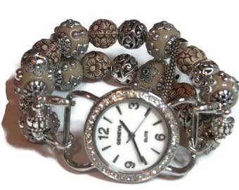 Beaded Interchangeable Watch - BeadsnTime - Khaki and Silver Beaded Watch - Unique Watch - Bracelet Watch - Clip- On Band - Stretch Watch
