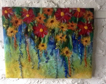 Felt flower picture, wet felted felt art, large felt painting