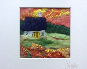 Felted textile art, small matted art