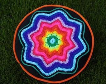multicolor crochet CUSHION - BANJU - PILLOW - rainbowpillow - flower power