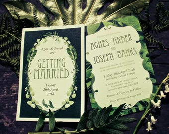 Greenery Watercolour Leaves Leaf Spring Art Nouveau Wedding Invitation Invite