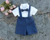 Ring bearer outfit navy. Linen ring bearer suit. Boys suspender outfit.Toddler boys linen suit. Wedding party outfit. Boys special occasion.