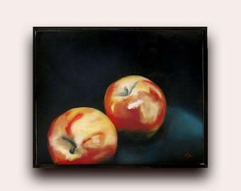 Still Life Oil Painting, Canvas Art, Traditional Still Life, Fine Art, Apple Still Life Painting, Wall art Ready to Hang, Uk, Still Life Art