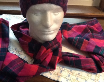 Men's Flannel Scarf - Cranberry and Black Plaid - Flannel scarf - Infinity or Rectangular