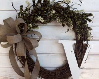 All Season Green and Cream Berry Grapevine Wreath--Front Door Wreath--Monogram Wreath--Spring Wreath--Summer Wreath--Fall Wreath