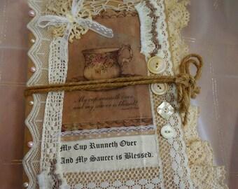 Handmade Junk Journal Keepsake Record Diary Love of Tea Notebook Vintage buttons, lace, crochet momentos