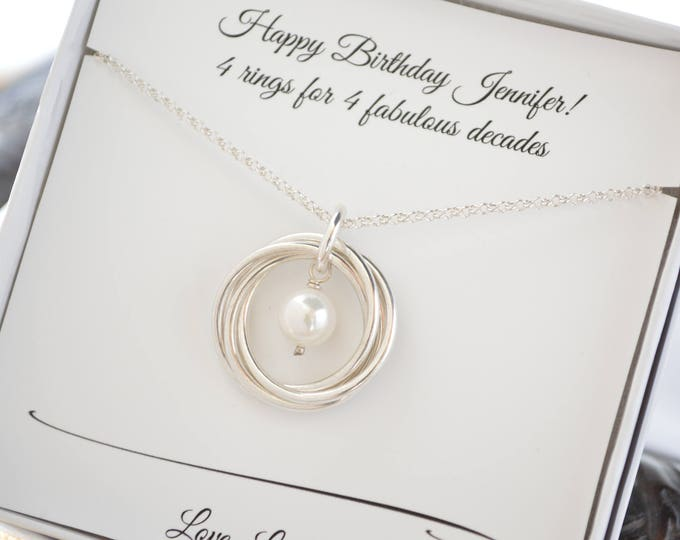 40th Birthday necklace for women, June birthstone necklace, Pearl necklace, Sister jewelry, Gift for daughter, 4th Anniversary gift for her