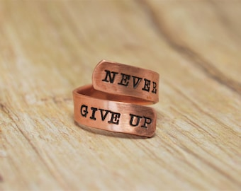 Wrap Ring, Twist Ring, Inspirational Ring, Quote Ring, Never Give Up, Custom Jewelry, Hand Stamped Ring, Copper Ring, Double Wrap Ring
