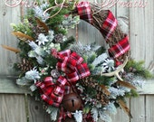 Celtic Christmas Scottish Highland Wreath, Snowy Rustic Winter Cabin Wreath, Irish Christmas, Flannel Tartan Woodland Wreath, Thistle