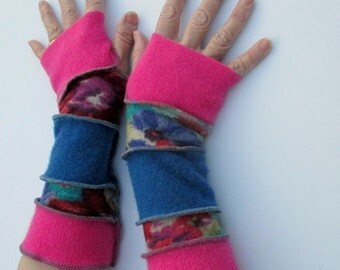 Fingerless Gloves - Arm Sleeves - Gypsy  Clothing - Hippie Clothing - Vivid Pink - Cobalt Blue - Gifts Under 30 - Best Sellers - Pink & Blue