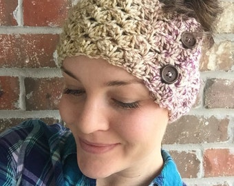 Crochet Headwrap - Knit Headwrap - Crochet Earwarmer - Womens Earwarmer - Knit Headband - Multicolor - Purple Blue Headwrap