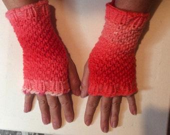 Melon ombre hand knit fingerless gloves Spring!