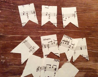 Vintage sheet music paper flags