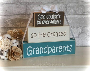 """Gift for Grandparents. Wood Block Stack:""""God couldn't be everywhere, so he created Grandparents""""  Pregnancy Announcement 4 Grandma & Grandpa"""