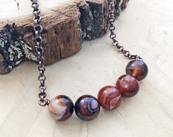 Botswana Agate Necklace Red Stone Necklace Chunky Copper Necklace Copper Jewelry Handmade Agate Necklace Copper Gemstone Necklace Red Bold