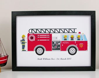 Personalised Children's Fire Engine Print