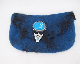 Felted clutch bag,  blue merino wool wet felted  with black sheep locks bead embroidered glass cab with Steer head charm snap closure