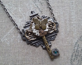 """Necklace pendant """"solitary Butterfly 2"""" steampunk"""
