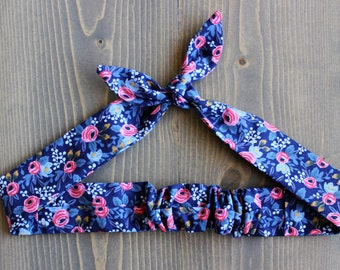Floral Knotted Hair Tie, Hair Wrap, Flowers, Self Tie Headband, Bandana, Hair Scarf, Baby, Child, Rockabilly, Made in Canada, Bow, Navy