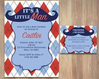 Printable Little Man Mustache Baby Shower Invitation, 5x7