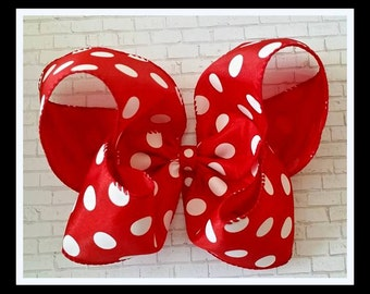 Minnie Hair Bow...Minnie Inspired Hair Bow... Red Polka Dot Bow...Red and White Polka Dot Bow...Minnie Mouse Red bow...Disney Inspired Bow