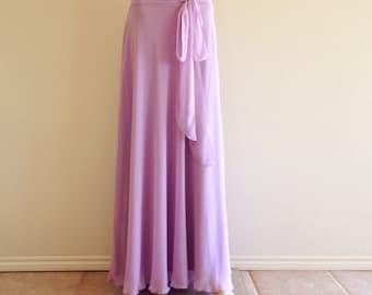 Light Lavender Bridesmaid Skirt. Light Lavender Maxi Skirt. Floor Length Chiffon Skirt.