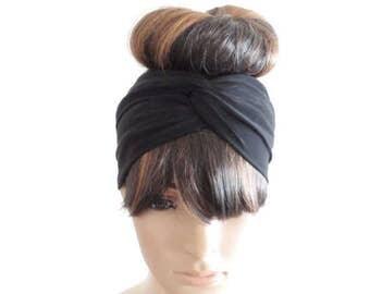Black Headband. Black Head Wrap. Twist Headband. Stretch Twist Head Wrap.