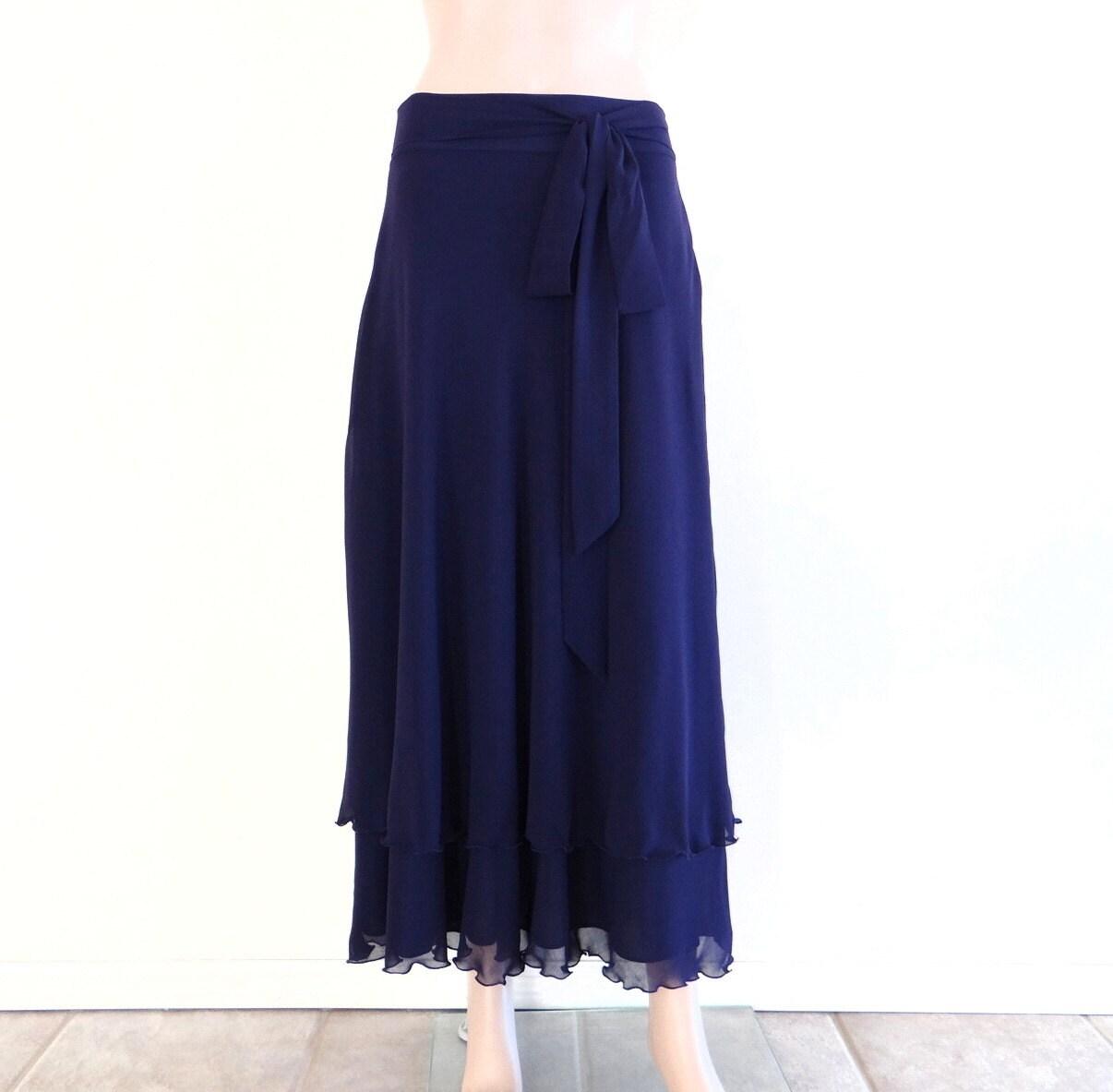 navy blue maxi skirt chiffon floor length skirt navy blue