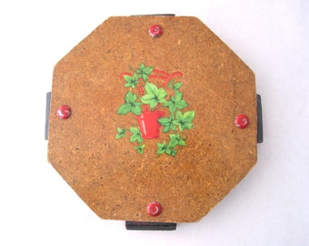 Handmade Trivet with Ivy Decal Vintage 1960s Kitschy Cute