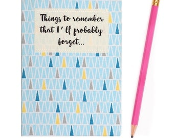 A6 Small Fabric Covered 'Things to Remember' Ruled Notebook - Geometric Blue