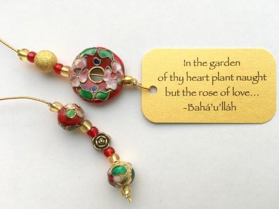Beaded Bookmark   Rose of Love cloisonné beaded bookmark