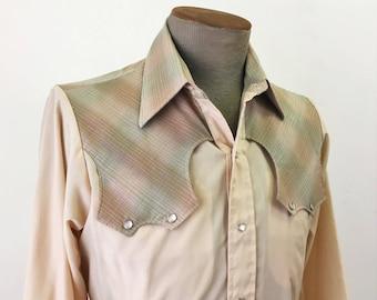1970s Western Shirt Mens Vintage Cowboy Style Beige Western Pearl Snap Long Sleeve Shirt with Plaid Yoke by Karman - Size MEDIUM