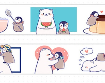 1 Roll of Limited Edition Washi Tape: Penguin and Polar Bear
