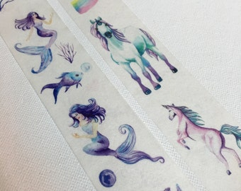 1 Roll of Limited Edition Washi Tape (Pick 1)  Unicorn or Mermaid