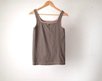 vintage 90s STRIPED tan & black jersey spandex style fitted tank top