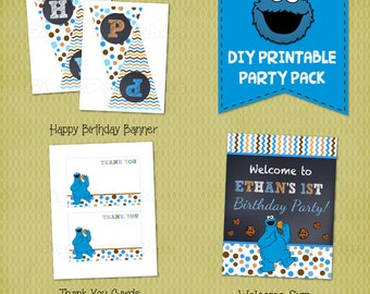 Cookie Monster Birthday Party Package,  DIY Printables, Party Pack
