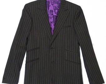 Ted Baker London Brown Pin Stripe Suit Jacket with Purple Lining and Double Vent Vintage