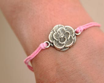 Rose Bracelet, Cord Bracelet with Silver Rose, Silver Rose, Pink Strings, Mminimalist jewelry,