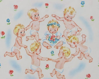 """Vintage Tie Tie BABY themed Gift Wrap - Wrapping Paper - """"Ring Around the Rosie"""" - 1960"""