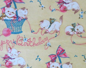Vintage Prestige Happy BIRTHDAY Gift Wrap - Wrapping Paper - Adorable KITTENS - 1960s