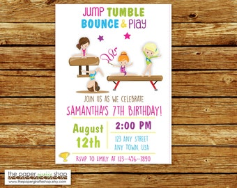 Gymnastics Invitation | Gymnastics Birthday Invitation | Gymnastics Birthday Party | Tumbling Birthday Party | Gymnastics Invite