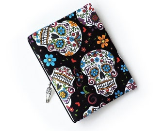 A6 Hobonichi Cover sugar skull print with skeleton charm. Planner cover. Notebook cover. Book jacket.
