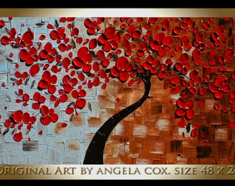 Original   Modern Red  Flowers Tree  Acrylic  Impasto Textured  Palette Knife Painting.