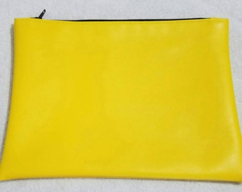 Yellow faux leather clutch bag, envelope clutch, makeup bag